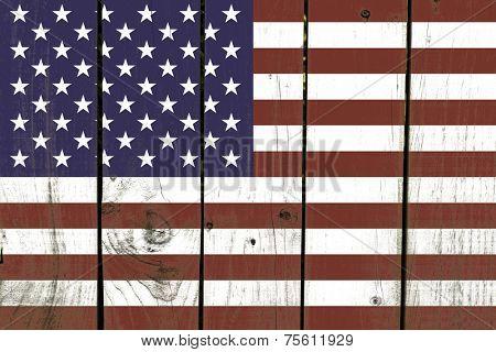 United States flag on wooden background