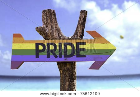Pride in a Rainbow wooden sign with a beach on background
