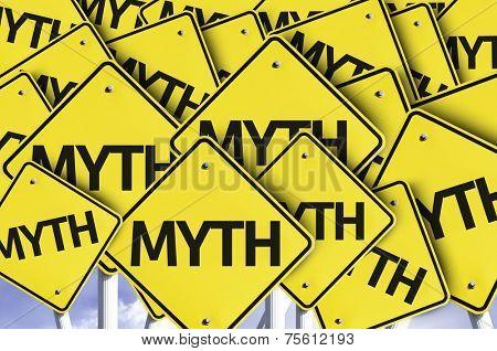 Myth written on multiple road sign