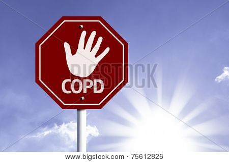 Stop COPD red sign with sun background