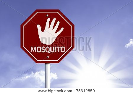 Stop Mosquito red sign with sun background