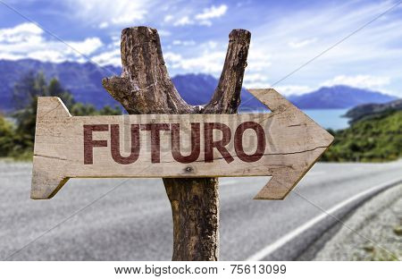 Futuro (In portuguese: Future) wooden sign with a street background