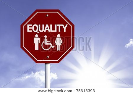 Equality red sign with sun background