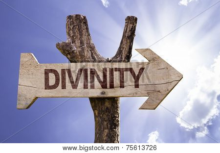 Divinity wooden sign on a beautiful day