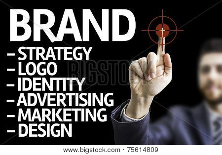 Business man pointing to black board with text: Description of a Brand