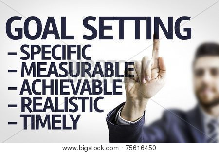 Business man pointing to transparent board with text: Description of Global Setting