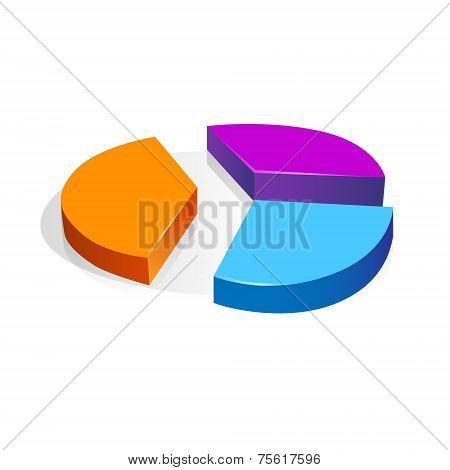 3d pie chart diagram vector business finance