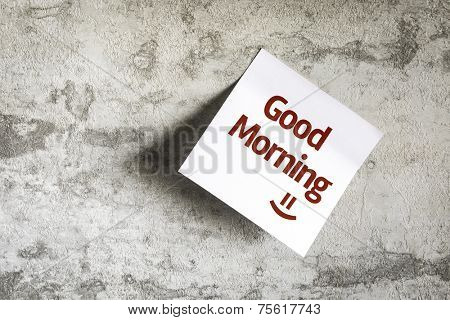 Good Morning on Paper Note on texture background