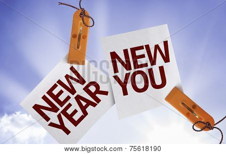 New Year New You on Paper Note on sky background