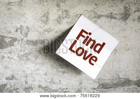 Find Love on Paper Note on texture background