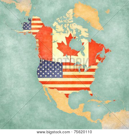 USA and Canada on the outline map of North America. The Map is in vintage summer style and sunny mood. The map has a soft grunge and vintage atmosphere which acts as watercolor painting on old paper.