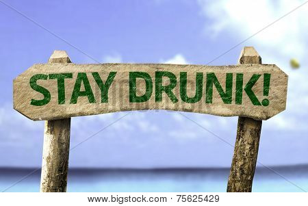 Stay Drunk! wooden sign with a beach on background