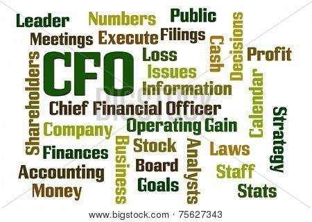 CFO word cloud on white background