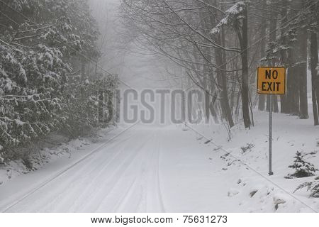 Winter road and trees covered in snow with Yellow No Exit sign