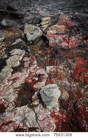 Closeup of colorful rocks at rugged Georgian Bay lake shore near Parry Sound, Ontario, Canada.