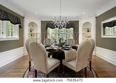 Dining room in luxury home white cabinetry