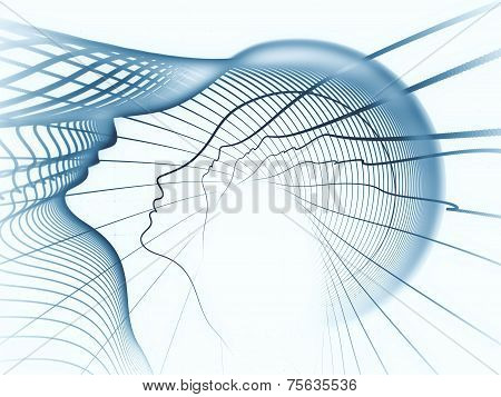 Geometry of Soul series. Creative arrangement of profile lines of human head as a concept metaphor on subject of education science technology and graphic design poster