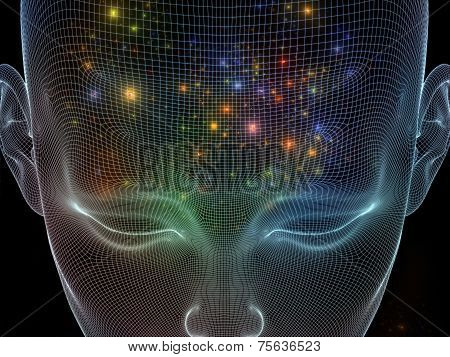 Frame of Mind series. Abstract arrangement of human face wire-frame and fractal elements suitable as background for projects on mind reason thought mental powers and mystic consciousness poster