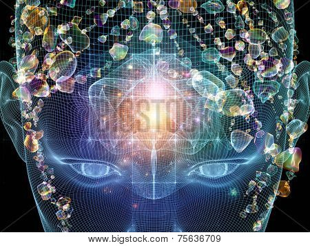 Frame of Mind series. Visually attractive backdrop made of human face wire-frame and fractal elements suitable as element for layouts on mind reason thought mental powers and mystic consciousness poster