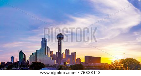 Panoramic overview of downtown Dallas in the morning poster