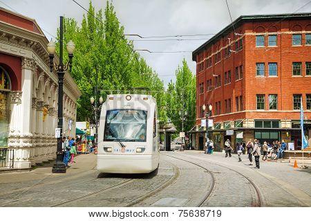 Light Train Of The Portland Streetcar System