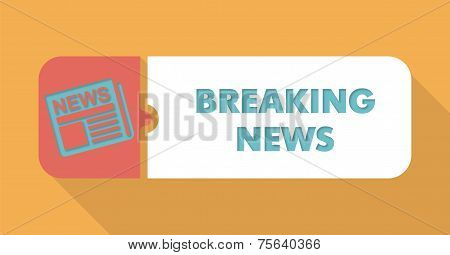 Breaking News on Blue Background in Flat Design.
