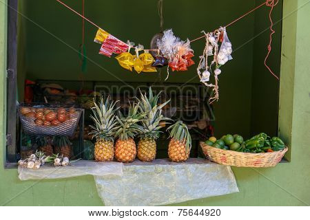 Marketplace View From Palacaguina With Fruits, Nicaragua