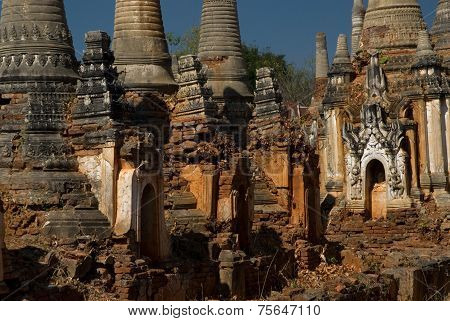 Crazy Pagodas At Shwe Inn Taing Paya Near Inle Lake In Myanmar.