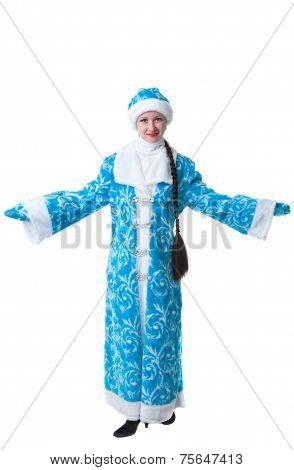 Studio shot of pretty girl dressed as Snow Maiden