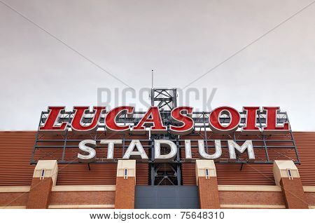 Lucas Oil Stadium Sign In Indianapolis
