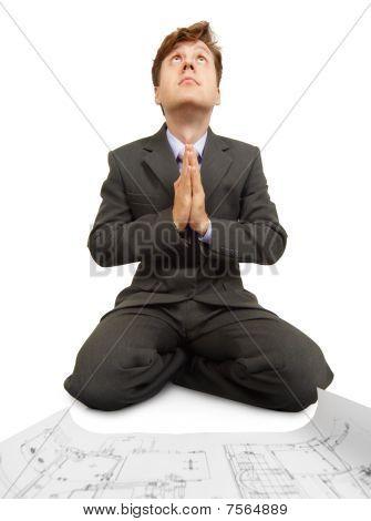 Engineering betet Technologie Gott auf Knien