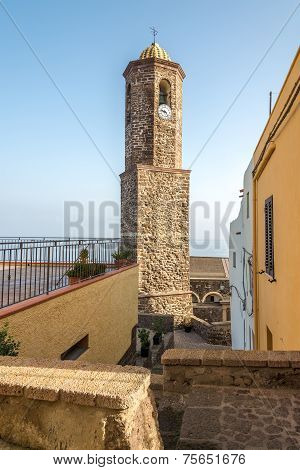 Bell tower of Cathedral Sant Antonio Abate in Castelsardo - Sardinia, Italy poster