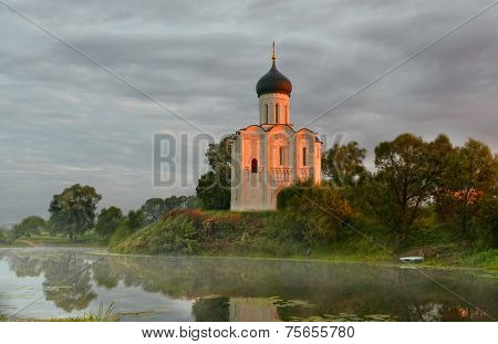 Morning fog over a pond near the temple of the Intercession on Nerli