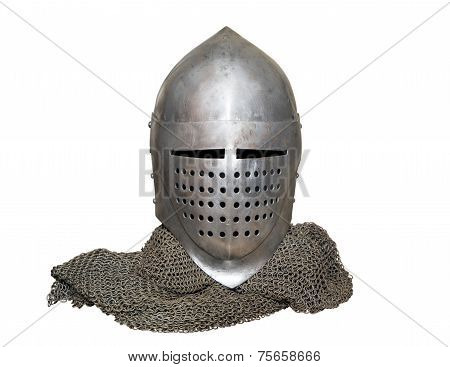 Old Knight's Helmet And Chainmail