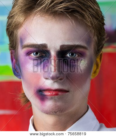 Close-up portrait of beautiful man with professional make-up Fashion Model Boy poster