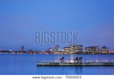 Boston Charles River Basin At Night