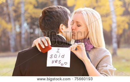 Man Proposed With Ring To Woman Outdoors