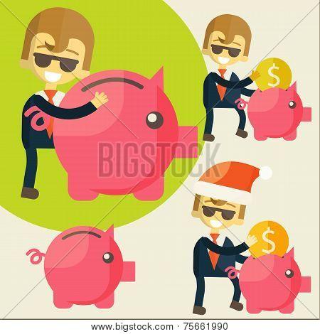 Businessman saves money in Piggy bank.