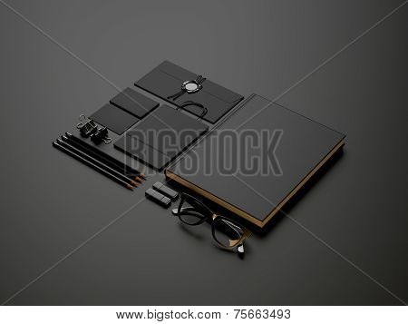 Set Of Black Elements On Dark Paper Background