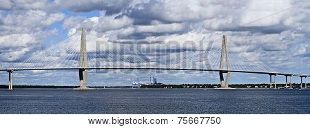 Cooper River Bridge in Charleston South Carolina on a beautiful day. poster