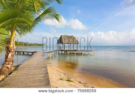 Panoramic view of the pier on Boca del Drago beach, archipelago Bocas del Toro, Panama poster