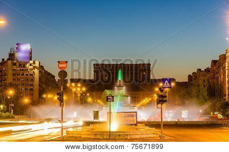 Fountain In Unirii Square - Bucharest, Romania