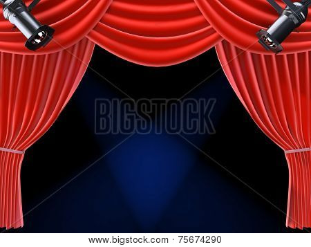spotlight and curtain