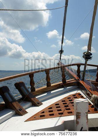 Sailing in the Aegean sea Santorini Greece