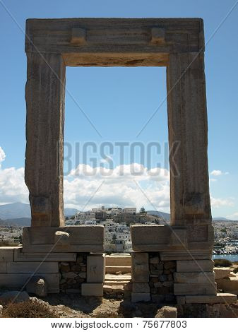 June, 2014 - Temple of Apollo with view on Chora Naxos Greece.