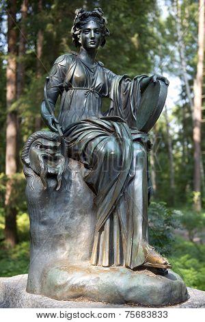 Bronze Sculpture Thalia, Muse Of Comedy, Pavlovsk Park