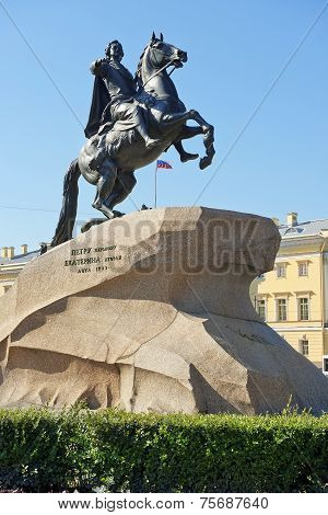 The Bronze Horseman, equestrian statue of Peter the Great in Saint Petersburg, Russia. Commissioned by Catherine the Great, it was created by french sculptor Etienne Maurice Falconet poster