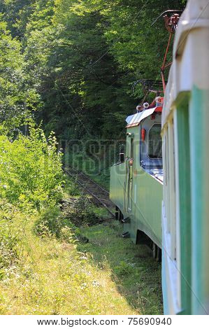 train on narrow-gage railroad between Borjomi and Bakuriani