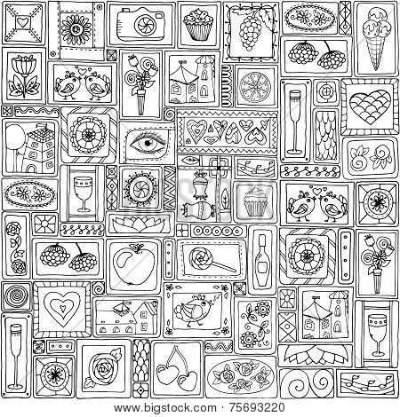 Geometric love and fruits seamless pattern.