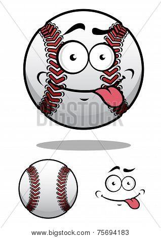 Cartoon baseball ball with a cheeky grin